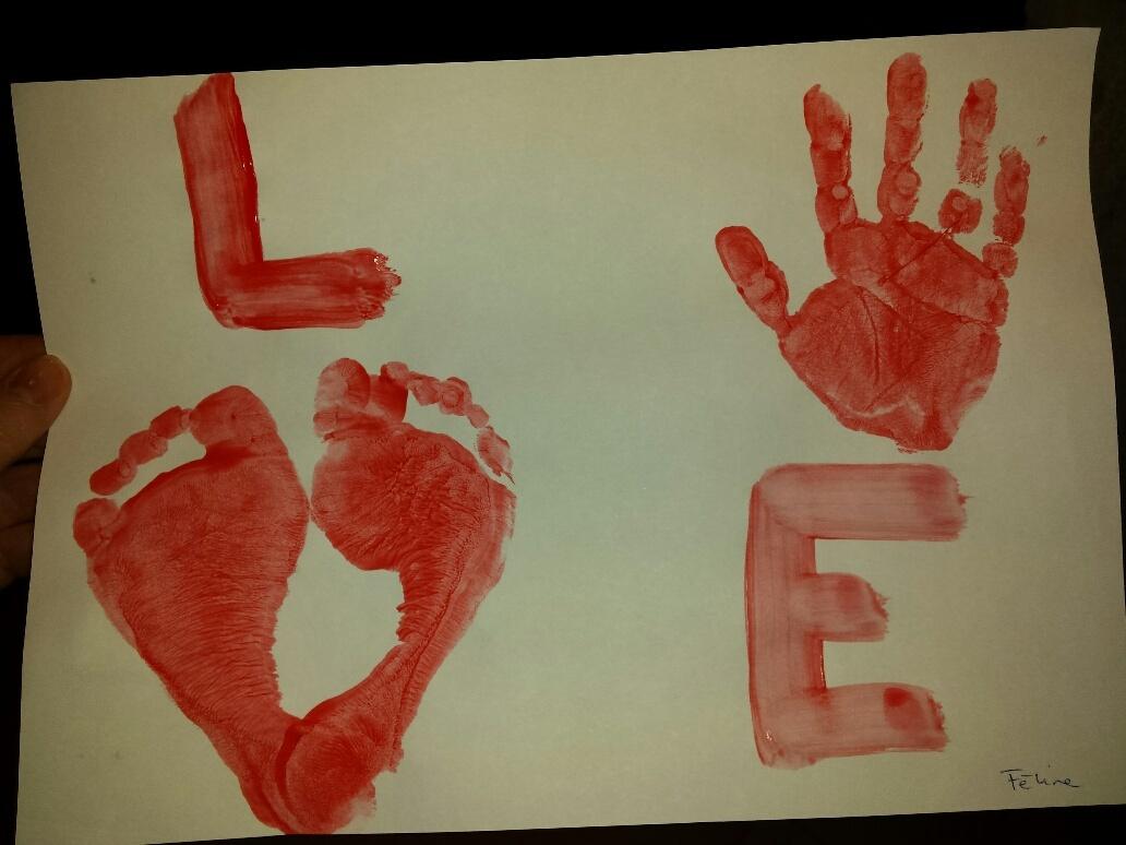 valentijn hand en voet DIY Valentijn knutsels