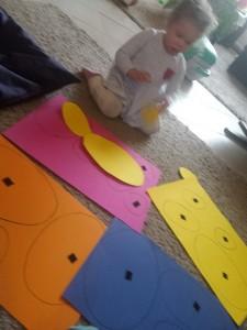 DIY kleuren en groot - klein puzzel