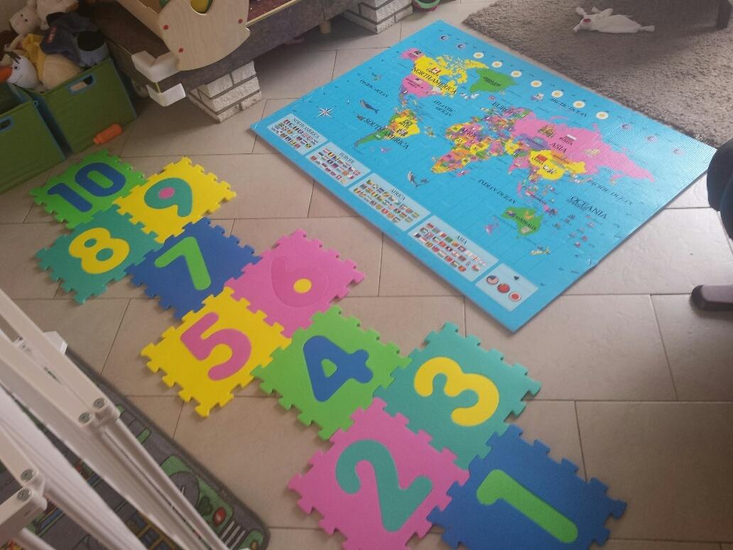 speelmatten wereldkaart en cijfers