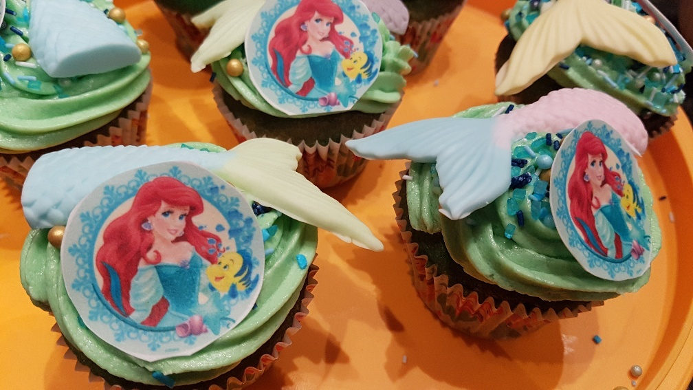 Zeemeermin kinderfeestje mermaidcupcake
