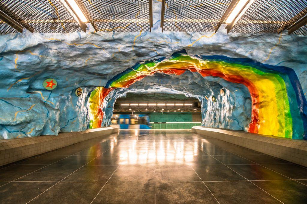 metro station kunstwerk in Stockholm