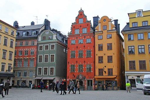 gekleurde huizen in kindvriendelijk Stockholm