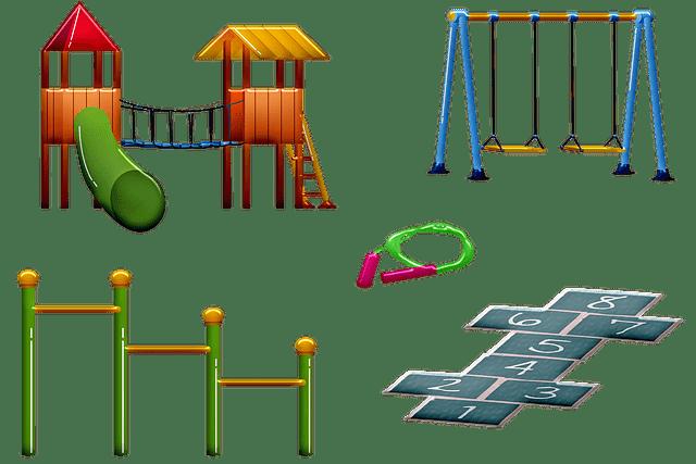 kindvriendelijke tuin met speeltoestellen