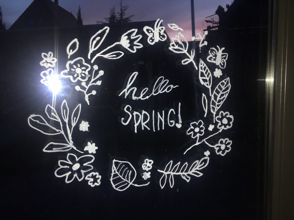 hello spring raamtekening