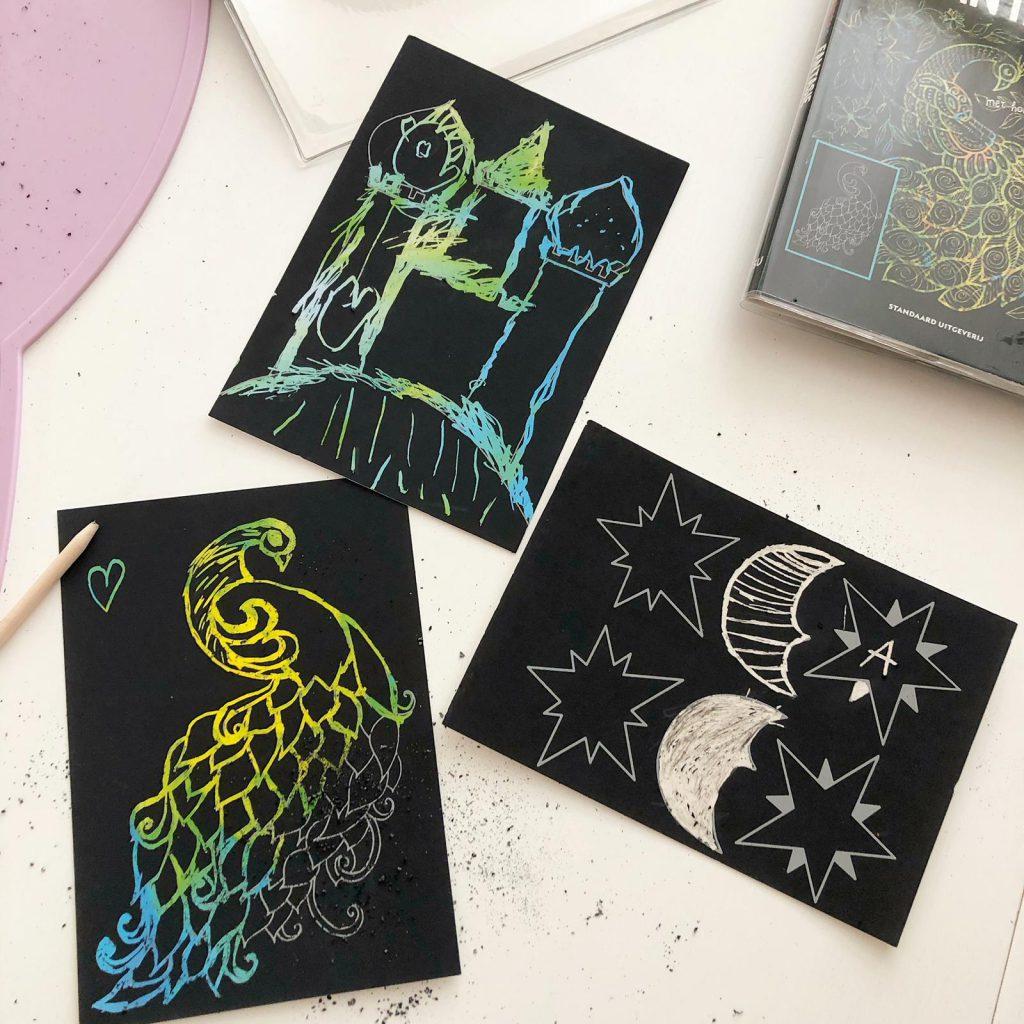Magische kraskaarten met verschillende thema's