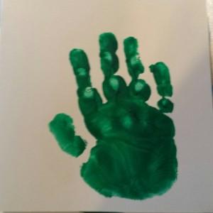 groene handafdruk kind