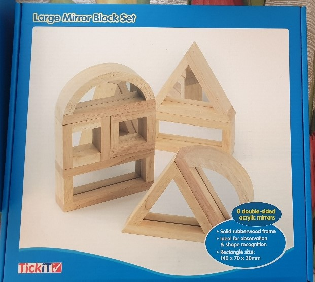 houten regenboogblokken spiegelblokken