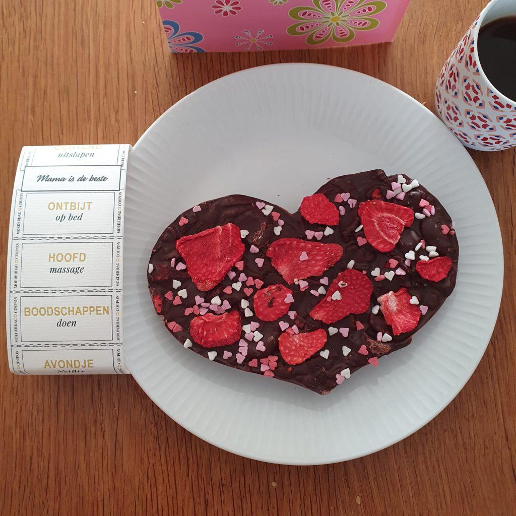 chocoladehart voor moeder