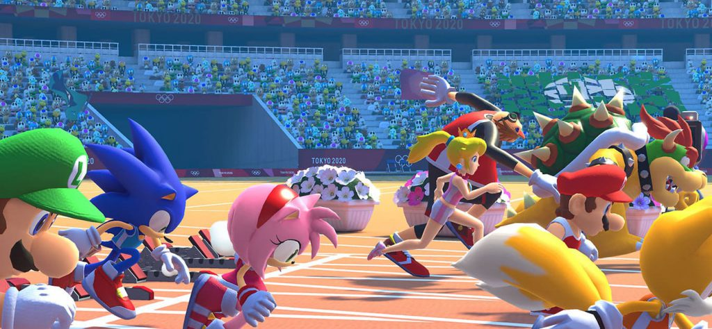 Mario en Sonic rennen