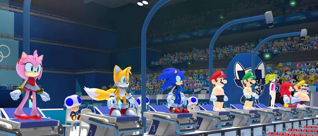 Mario en Sonic zwemmen
