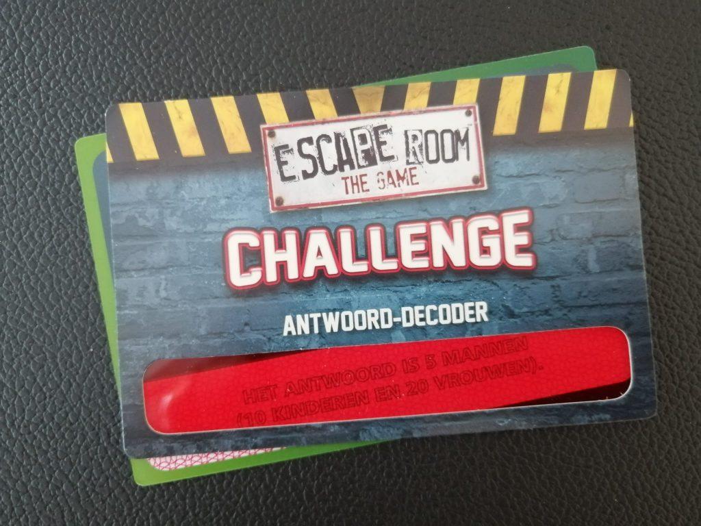 Escape room game challenge